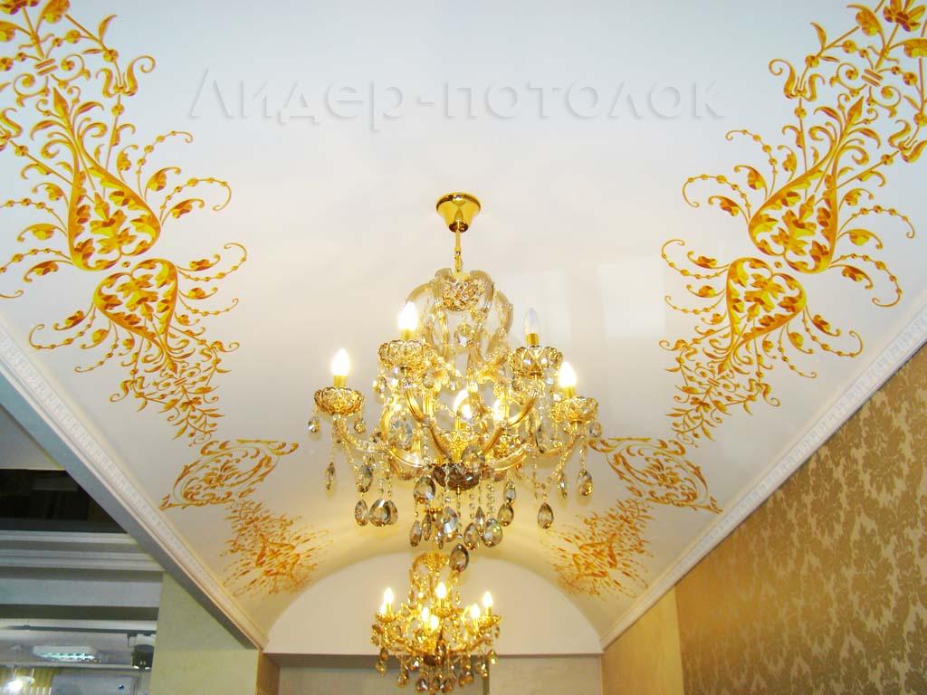 Потолок Descor с фотопечатью: Экспозиция натяжных потолков в салоне Альфа-Керамик
